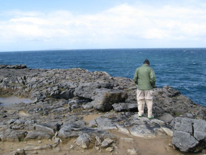 Me, observing blooming wildflowers right at the edge of the Burren